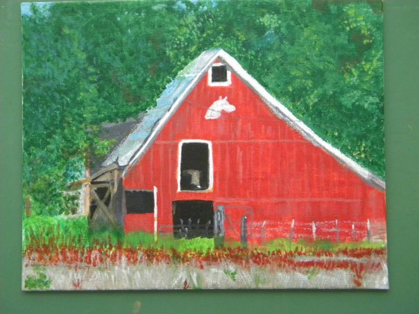Here is an acrylic painting I did a few years ago of a local barn.