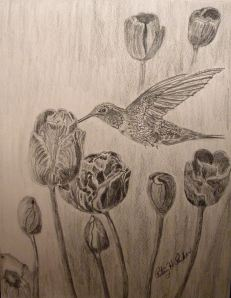 Hummingbird and Tulips