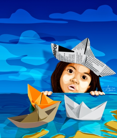 """Paper Boat"" by Alf Sukatmo. Vector artwork."
