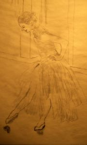 Young Girl Ballerina Tracing