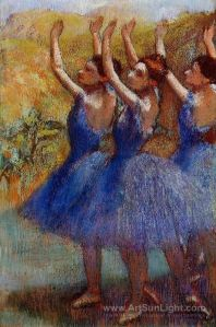 Degas three-dancers-in-purple-skirts