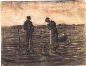 The Angelus drawing by Vincent van Gogh
