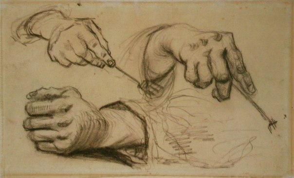 Vincent's study of three hands