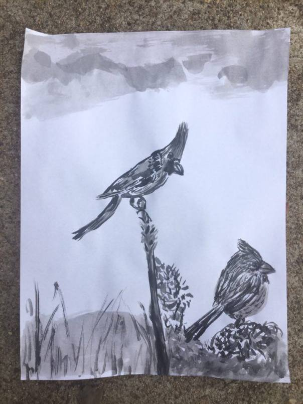 cardinals-sumi-e-ink